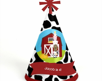 8 Farm Animals Birthday Party Hats - Personalized Farm Animals Birthday Party Supplies - Set of 8