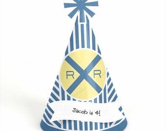 8 Train Birthday Party Hats - Personalized Train  Birthday Party Supplies - Set of 8