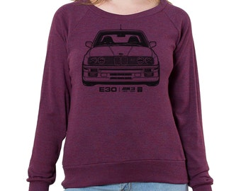 BMW E30 M3 Graphic printed on Women's American Apparel long sleeve pullover