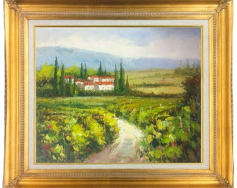 Framed 24 X 20 Inches Tuscan Vineyard Landscape Oil Painting, Stretched Only or Choice of Gold or Copper Frame