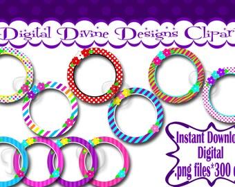 Flower Circle Frames - Digital Clip Art Set  - Instant Download - .png files, Transparent Background
