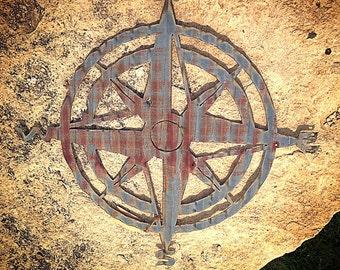 Compass rose - corrugated barn tin