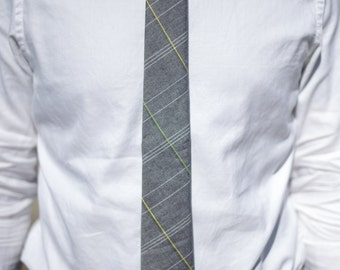Gray with White, Yellow, and Green Plaid Pattern Skinny Necktie