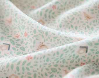 Birds and Flower Pattern Double Cotton Gauze Fabric by Yard