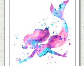 Mermaid print, Mermaid watercolor print, Ariel print, Disney Ariel, Disney Little Mermaid, aqua coral pink Mermaid art, nursery art