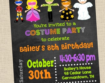 Costume Party Invitation- Halloween Party Printable Invitation- Printable,  DIY, Digital, Halloween Kids, Costume, Costume Party, Birthday