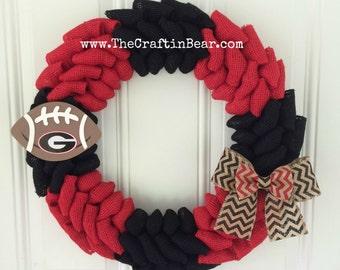 University of Georgia burlap wreath w/ football and chevron double bow - UGA - Georgia bulldogs- Dawgs