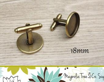 Bronze Cuff links, 18mm Cufflinks, DIY cuff links, Antique Bronze, Bezel Blank, cufflink findings, bezel settings, makes 5 pairs (WS18-AB1)