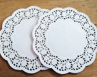 "Pack of 50 sheets - small white paper doilies, 3.5"", 4.5"", 5.5"", 6.5"""