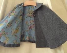 Girl's Herringbone Cape with collar // Girl's Cape  //  Toddler Cape