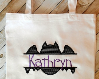 Personalized bat Halloween trick-or-treat bag