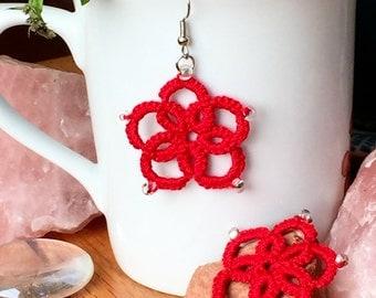 Tatted Red Flower Dangle Earrings