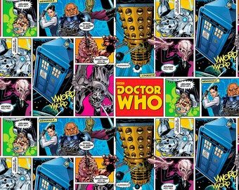 BBC Doctor Who Comics - Springs Creative - Cotton fabric - Choose your cut