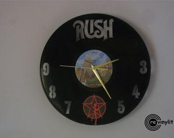 Rush clock, Rush art, Rush, vinyl record clock, vinyl clock, wall clock, music art, mancave decor