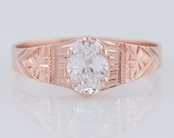 Antique Engagement Ring Victorian .63ct Oval Cut Diamond in 14k Rose Gold