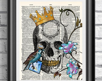 Tattoo print, Skull art print, Blue bird wall decor, Antique dictionary book page, Crown anatomical print, Wall decor Poster