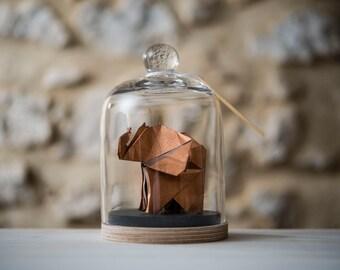 Sculpture origami elephant under a glass bell, metallic copper paper / Curiosity / First Wedding Anniversary / Paper Wedding.