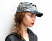 JAPANESE BRIMMED HAT Unisex - Gray and Black Field Cap  - Heathen Clothing Leather Hat with Brass Details