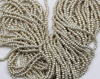 "8/0 Metallic Silver Czech Seed Beads - 6/20"", classy silver beads"