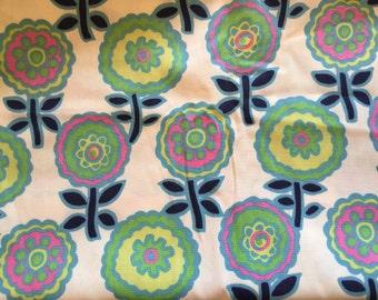 Vintage Retro Fabric Klopman Mills Mod Floral 3 yards