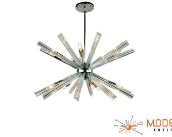 Vintage Murano Venini Triedi Crystal Sputnik Chandelier Atomic  Mid Century Modern