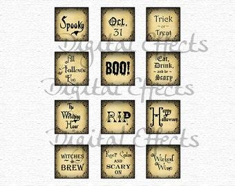 halloween tags 2x2 square 12 halloween slogans halloween sayings halloween labels - Halloween Slogans