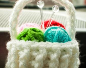 Yarn Basket Christmas Ornament, Christmas Ornament, Yarn Basket, Crochet Basket Ornament, White Crochet Yarn Basket, Handmade Yarn Basket