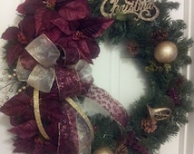 Cranberry or Burgundy Poinsetta Traditional Evergreen Christmas Wreath