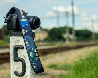 Original design Camera Strap.  Black and blue DSLR / SLR Camera Strap.