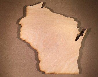 WI Wisconsin Wood Cutouts - Shapes for Projects or Other Use