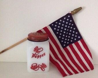 Milk glass Uncle Sam's hat pepper shaker