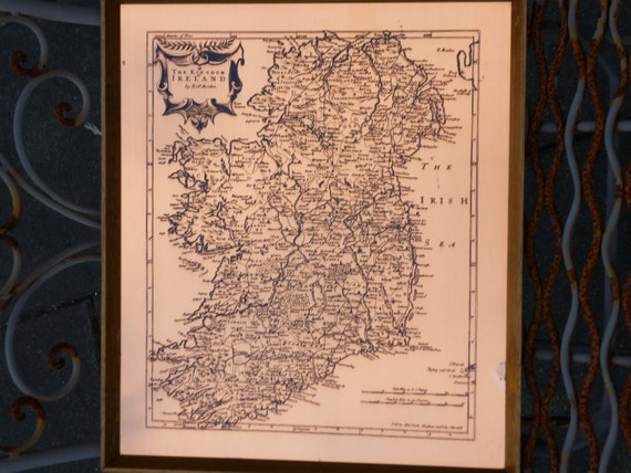 Etched Copper Wall Hanging. Map Of Ireland. The Kingdom Of