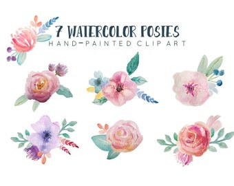 Watercolor floral clipart, 7 hand-painted floral posies, pre-arranged floral bunches clip art,