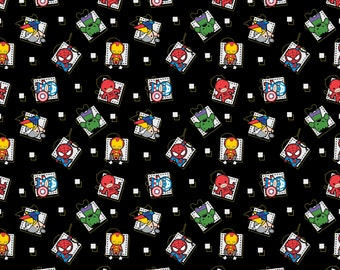 Kuwaii  Baby Super Hero on Black cotton woven fabric by the yard listing