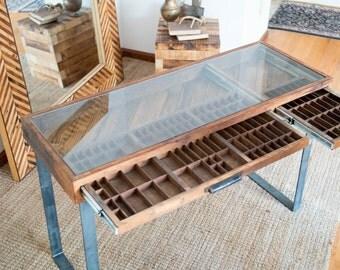Reclaimed wood printer drawer desk