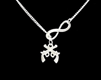 Infinity Gun Revolver Six Shooter Cowgirl Y Lariat Necklace