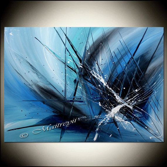 Abstract painting blue painting blue abstract art original for Blue paintings on canvas