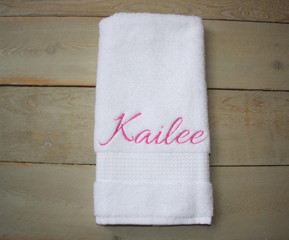 Personalized Embroidered Hand Towels Kids Boy By Redbobbindesigns