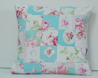 SALE Patchwork Pillow Cover, Shabby Chic Pillow Cover, Quilted Cushion Cover, Quilted Pillow, Fits 14 inch insert_tanya Whelan Fabrics