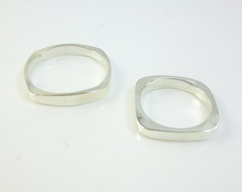 Wedding Band Set, Sterling Silver Square Wedding Bands, Kabballah Jewelry