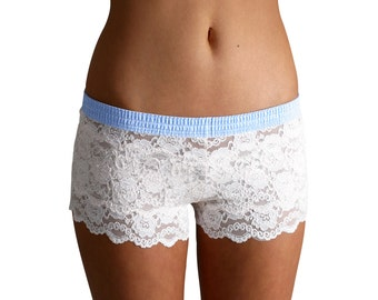 FOXERS Ivory Lace Boxers with Light Blue Dot Band | Lace Lingerie | FXBXR-1121