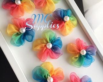 Rainbow organza flowers applique,organza flowers,flower applique,baby headbands flowers,sew on flowers,hair clip flowers,handmade flowers.