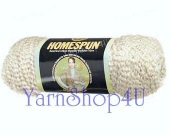 DECO 309 Lion Brand Homespun, antique yarn, pearl, 6.0 oz, Homespun yarn, ivory off white yarn, knitting yarn, crochet yarn, Lion Brand Deco