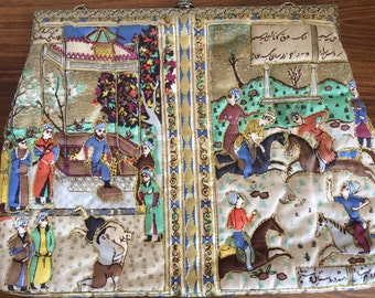 Quilted Silk purse with Persian scenes by Delill