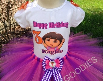 Dora outfit, Dora tutu set, Dora birthday tutu,Dora the explorer tutu.