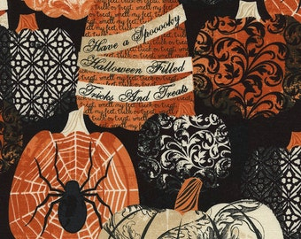 Halloween Pumpkins Fabric,  Timeless Treasures Wicked  C3382 Black, Pumpkins Cotton Fabric, Orange, Black & Cream, Spiders, Damask