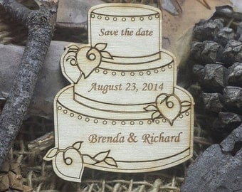 Save The Date WeddingWooden Magnet - 200 Custom Rustic Wedding Wood Favors - Wedding Cake - Laser Wedding Magnet Favor Personalized engraved