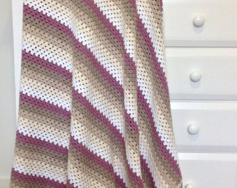 Granny Stripe Crochet Blanket, Soothing Orchid, Scollop Edge