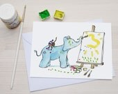 Funny Greeting Card - Greetingcard for Kids- Little Blue Elephant and Monkey painting - A6