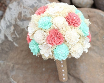 Wedding Bouquet,Coral,Mint Bridal Bouquet, Sola Flower Bouquet,Keepsake Bridal Bouquet, Rustic Bridal Bouquet,Bridesmaids Bouquet